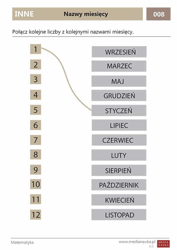 Karta pracy - Inne - nazwy miesięcy - medianauka.pl