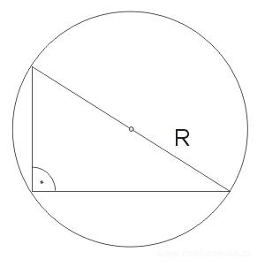 okrąg opisany na trójkącie prostokątnym